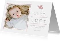 Einladungskarte zur Taufe Foto rosé Taube
