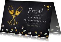 Einladungskarte zur Weihnachtsfeier mit Sektgläsern