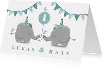 Einladungskarte Zwillinge blau Elefanten mit Luftballon