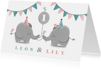 Einladungskarte Zwillinge blau-rosa Elefanten mit Luftballon