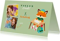 Einschulung Dankeskarte hellgrün Foto & Fuchs