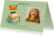 Einschulung Einladung hellgrün Foto & Fuchs