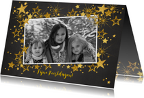 Feestelijke kerst fotokaart gouden sterren L