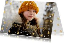 Feestelijke kerstkaart met eigen foto en kerstboompjes kader