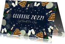 Feestelijke nieuwjaarskaart oliebollen, vuurwerk & champagne