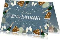 Feestelijke uitnodiging online nieuwjaarsborrel champagne