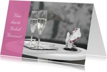 Felicitatiekaarten - Felicaitie huwelijk Kleurrijk Zwart Wit