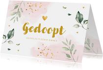 Felicitatie doopsel meisje botanische bladeren roze