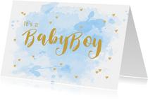 Felicitatie geboorte aquarel hartjes lichtblauw
