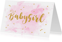 Felicitatie geboorte meisje aquarel hartjes roze