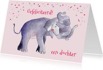 Felicitatie geboorte meisje illustratie olifant en jong