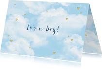 Felicitatie geboorte wolken goudlook hartjes