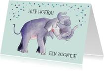 Felicitatiekaarten - Felicitatie geboorte zoon illustratie olifant