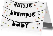 Felicitatiekaarten - Felicitatie huisje boompje baby slinger