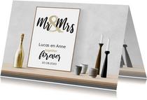 Felicitatie huwelijk tekst op interieurposter