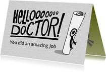 Felicitatie kaart voor een doctoraat met handlettering