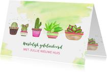 Felicitatie nieuwe woning met cactussen