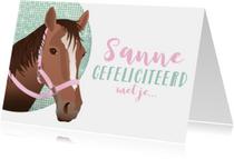 Felicitatie paard divers roze bling