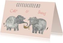 Felicitatie tweeling olifanten meisjes