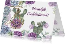 Verjaardagskaarten - Felicitatie vetplanten cactus