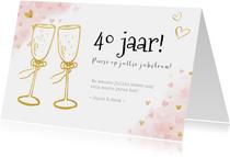 Felicitatiekaart 40 jarig huwelijksjubileum gouden toast