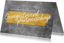 Felicitatiekaart betonlook geregistreerd partnerschap