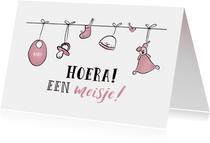 Felicitatiekaart bij de geboorte van een meisje / dochter