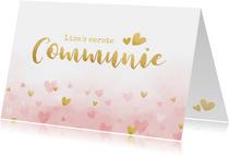 Felicitatiekaart communie - roze waterverf met gouden hartje