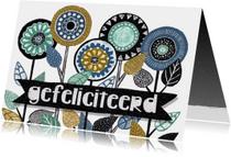 felicitatiekaart divers bloemen retro