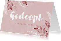 Felicitatiekaart doopsel meisje roze takjes vintage