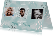 Felicitatiekaart geboorte kleinzoon met waterverf en foto's