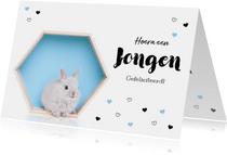 Felicitatiekaart - Geboorte - Lief konijntje blauw hartjes