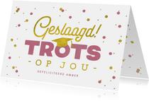 felicitatiekaart-geslaagd-examen-trots-meisje-confetti