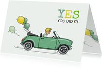 Felicitatiekaart geslaagd Mini groen