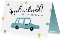 Felicitatiekaart geslaagd rijbewijs auto confetti
