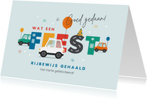 Felicitatiekaart geslaagd rijbewijs auto feest