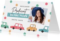 Felicitatiekaart geslaagd rijbewijs confetti auto foto