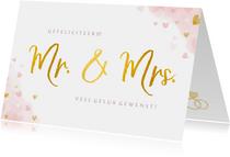 Felicitatiekaart getrouwd - mr. & mrs. waterverf en hartjes