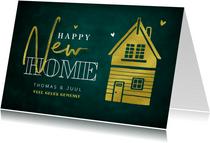 Felicitatiekaart happy new home stijlvol goud groen huisje