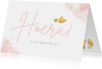 Felicitatiekaart - hoera een dochter met roze hartjes