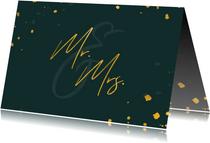 Felicitatiekaart huwelijk gouden 'mr & mrs' met confetti
