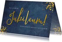Felicitatiekaart huwelijksjubileum - stijlvol blauw met goud