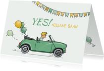 Felicitatiekaart nieuwe baan mini ballonnen