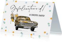 Feestelijke felicitatiekaart geslaagd rijbewijs