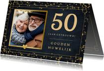 Felicitatiekaart trouwdag gouden huwelijk - vintage look