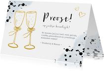 Felicitatiekaart trouwen met gouden champagneglazen toast