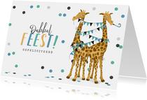 Felicitatiekaart tweeling jongens giraf geboorte zwanger