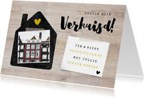 Felicitatiekaart verhuisd met huisje, foto's en hout
