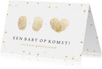 Felicitatiekaart zwanger - vingerafdrukken hart - 1+1=♡
