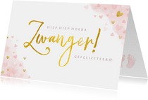 Felicitatiekaart zwangerschap met roze hartjes en goud